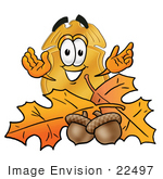 #22497 Clip Art Graphic Of A Gold Law Enforcement Police Badge Cartoon Character With Autumn Leaves And Acorns In The Fall