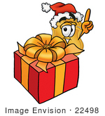 #22498 Clip Art Graphic Of A Gold Law Enforcement Police Badge Cartoon Character Standing By A Christmas Present
