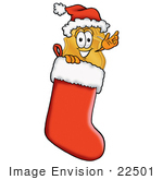 #22501 Clip Art Graphic Of A Gold Law Enforcement Police Badge Cartoon Character Wearing A Santa Hat Inside A Red Christmas Stocking