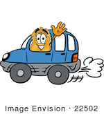 #22502 Clip art Graphic of a Gold Law Enforcement Police Badge Cartoon Character Driving a Blue Car and Waving by toons4biz