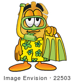 #22503 Clip Art Graphic Of A Gold Law Enforcement Police Badge Cartoon Character In Green And Yellow Snorkel Gear