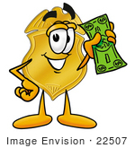 #22507 Clip Art Graphic Of A Gold Law Enforcement Police Badge Cartoon Character Holding A Dollar Bill