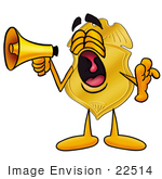 #22514 Clip Art Graphic Of A Gold Law Enforcement Police Badge Cartoon Character Screaming Into A Megaphone