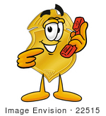 #22515 Clip Art Graphic Of A Gold Law Enforcement Police Badge Cartoon Character Holding A Telephone