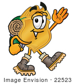 #22523 Clip Art Graphic Of A Gold Law Enforcement Police Badge Cartoon Character Hiking And Carrying A Backpack