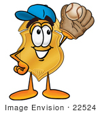 #22524 Clip Art Graphic Of A Gold Law Enforcement Police Badge Cartoon Character Catching A Baseball With A Glove