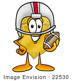 #22530 Clip Art Graphic Of A Gold Law Enforcement Police Badge Cartoon Character In A Helmet Holding A Football