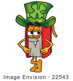 #22543 Clip Art Graphic Of A Book Cartoon Character Wearing A Saint Patricks Day Hat With A Clover On It