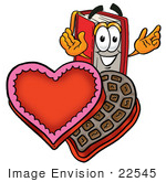 #22545 Clip Art Graphic Of A Book Cartoon Character Holding A Red Rose On Valentines Day