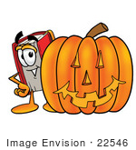 #22546 Clip Art Graphic of a Book Cartoon Character With a Carved Halloween Pumpkin by toons4biz
