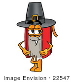 #22547 Clip Art Graphic Of A Book Cartoon Character Wearing A Pilgrim Hat On Thanksgiving