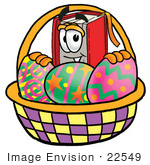#22549 Clip Art Graphic Of A Book Cartoon Character In An Easter Basket Full Of Decorated Easter Eggs