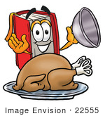 #22555 Clip Art Graphic Of A Book Cartoon Character Serving A Thanksgiving Turkey On A Platter