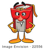 #22556 Clip Art Graphic Of A Book Cartoon Character Wearing A Red Mask Over His Face