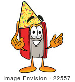 #22557 Clip Art Graphic Of A Book Cartoon Character Wearing A Birthday Party Hat