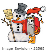 #22565 Clip Art Graphic of a Book Cartoon Character With a Snowman on Christmas by toons4biz