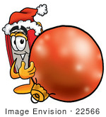 #22566 Clip Art Graphic Of A Book Cartoon Character Wearing A Santa Hat Standing With A Christmas Bauble