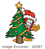 #22567 Clip Art Graphic Of A Book Cartoon Character Waving And Standing By A Decorated Christmas Tree