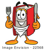 #22568 Clip Art Graphic Of A Book Cartoon Character Holding A Knife And Fork