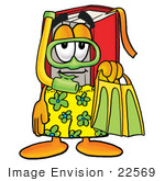 #22569 Clip Art Graphic Of A Book Cartoon Character In Green And Yellow Snorkel Gear