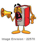 #22570 Clip Art Graphic Of A Book Cartoon Character Screaming Into A Megaphone