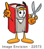 #22573 Clip Art Graphic Of A Book Cartoon Character Holding A Pair Of Scissors
