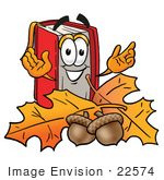 #22574 Clip Art Graphic of a Book Cartoon Character With Autumn Leaves and Acorns in the Fall by toons4biz