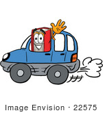 #22575 Clip Art Graphic Of A Book Cartoon Character Driving A Blue Car And Waving