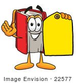 #22577 Clip Art Graphic Of A Book Cartoon Character Holding A Yellow Sales Price Tag