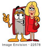 #22578 Clip Art Graphic of a Book Cartoon Character Talking to a Pretty Blond Woman by toons4biz