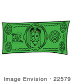 #22579 Clip Art Graphic Of A Book Cartoon Character On A Dollar Bill