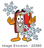 #22580 Clip Art Graphic Of A Book Cartoon Character With Three Snowflakes In Winter