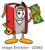 #22583 Clip Art Graphic Of A Book Cartoon Character Holding A Dollar Bill