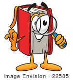 #22585 Clip Art Graphic of a Book Cartoon Character Looking Through a Magnifying Glass by toons4biz