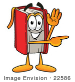 #22586 Clip Art Graphic Of A Book Cartoon Character Waving And Pointing