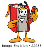 #22588 Clip Art Graphic Of A Book Cartoon Character Holding A Telephone