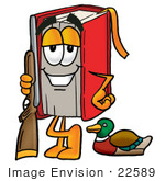 #22589 Clip Art Graphic of a Book Cartoon Character Duck Hunting, Standing With a Rifle and Duck by toons4biz
