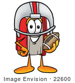 #22600 Clip Art Graphic Of A Book Cartoon Character In A Helmet Holding A Football