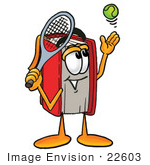 #22603 Clip Art Graphic Of A Book Cartoon Character Preparing To Hit A Tennis Ball
