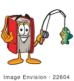 #22604 Clip Art Graphic Of A Book Cartoon Character Holding A Fish On A Fishing Pole