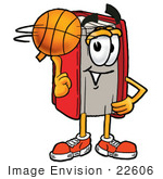 #22606 Clip Art Graphic of a Book Cartoon Character Spinning a Basketball on His Finger by toons4biz