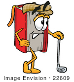 #22609 Clip Art Graphic Of A Book Cartoon Character Leaning On A Golf Club While Golfing