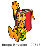#22613 Clip Art Graphic Of A Book Cartoon Character Plugging His Nose While Jumping Into Water