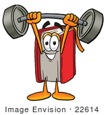 #22614 Clip Art Graphic Of A Book Cartoon Character Holding A Heavy Barbell Above His Head