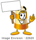 #22620 Clip Art Graphic Of A Construction Road Safety Barrel Cartoon Character Holding A Blank Sign