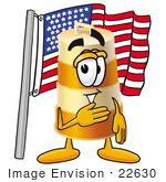 #22630 Clip Art Graphic Of A Construction Road Safety Barrel Cartoon Character Pledging Allegiance To An American Flag