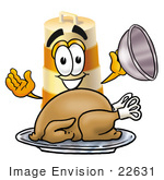 #22631 Clip Art Graphic Of A Construction Road Safety Barrel Cartoon Character Serving A Thanksgiving Turkey On A Platter
