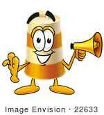 #22633 Clip Art Graphic Of A Construction Road Safety Barrel Cartoon Character Holding A Megaphone