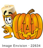 #22634 Clip Art Graphic Of A Construction Road Safety Barrel Cartoon Character With A Carved Halloween Pumpkin