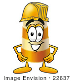 #22637 Clip Art Graphic Of A Construction Road Safety Barrel Cartoon Character Wearing A Helmet